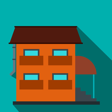 porch: Two-storey house with porch flat icon on a blue background
