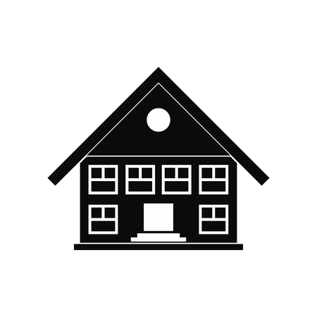 single dwellings: Two-storey house black simple icon isolated on white background