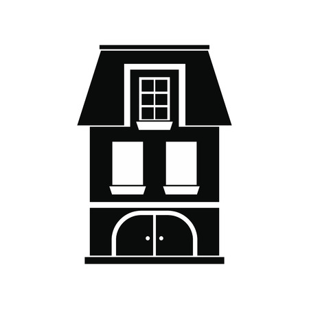 two storey house: House with a mansard and garage black simple icon