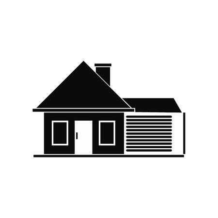 Cottage avec un garage simple icône noire Illustration