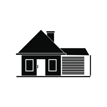 residential structures: Cottage with a garage black simple icon