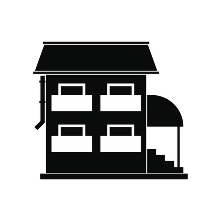 porch: Two-storey house with porch black simple icon Illustration