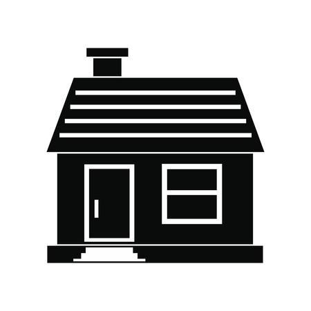 single dwelling: Small cottage black simple icon isolated on white background Illustration