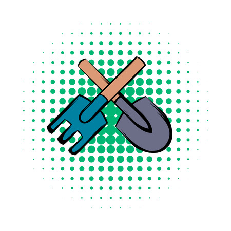 fertilize: Spade and pitchfork comics icon on a white background