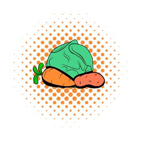 potatoe: Cabbage, carrot, potatoe comics icon. Vegetables symbol on a white background Illustration