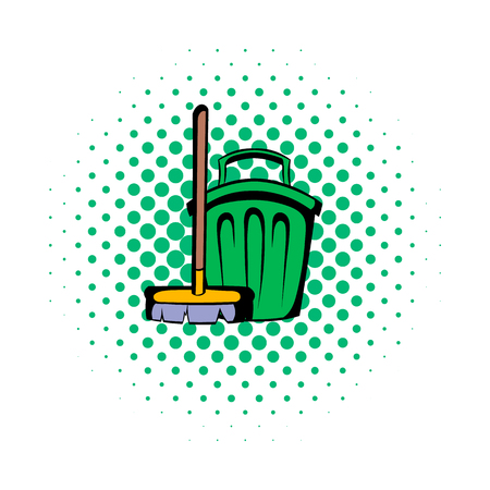 dacha: Broom and bucket comics icon isolated on a white
