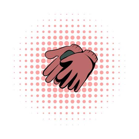 dacha: Garden gloves comics icon. Garden symbol on a white background