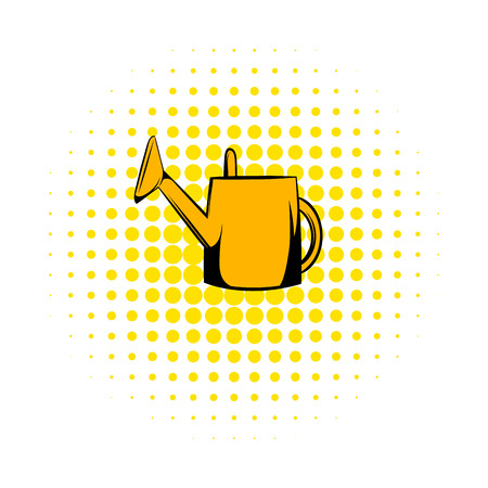 yelow: Yelow watering can comics icon. Garden symbol on a white background Illustration