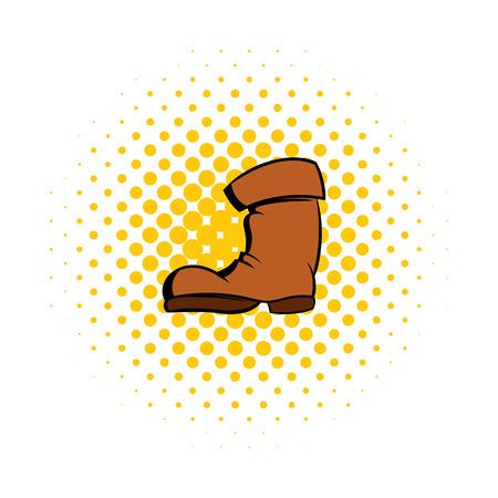 zapatos caricatura: Botas altas icono cómics. símbolo de jardín en un fondo blanco
