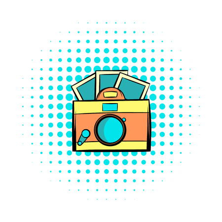 journalistic: Retro camera with photos comics icon. Hipster symbol on a white background