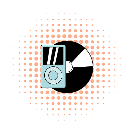 vinyl record: Mp3 player vinyl record comics icon. Hipster symbol on a white background