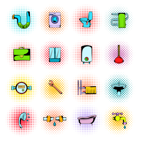 sanitary engineering: Sanitary engineering comics icons set isolated on white background