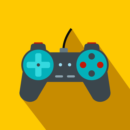 joy pad: Video game controller flat icon on a yellow background