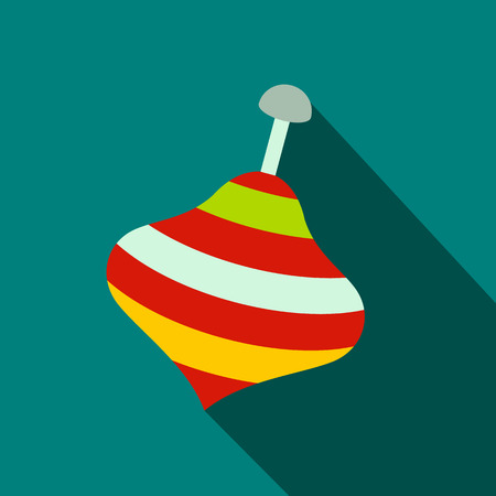 spinning: Toy spinning top flat icon on a blue background