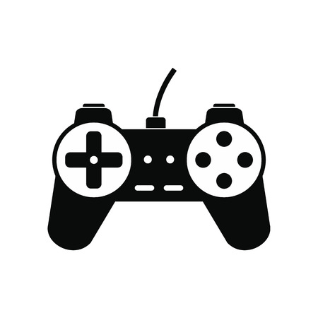joy pad: Video game controller black simple icon isolated on white background