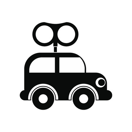 clockwork: Clockwork toy car black simple icon isolated on white background Illustration