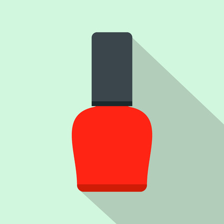 nail polish bottle: Red nail polish bottle flat icon on a light blue background