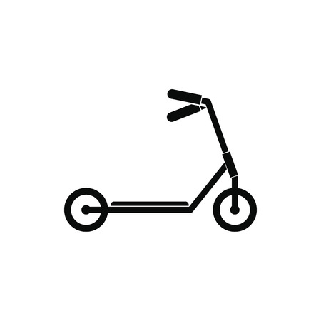 aluminum wheels: Kick scooter black simple icon isolated on white background