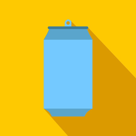 tin can: Aluminum can flat icon on a yellow background