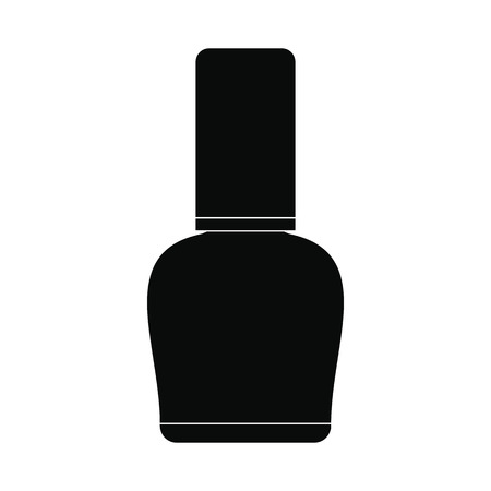 nail polish bottle: Nail polish bottle black simple icon isolated on white background