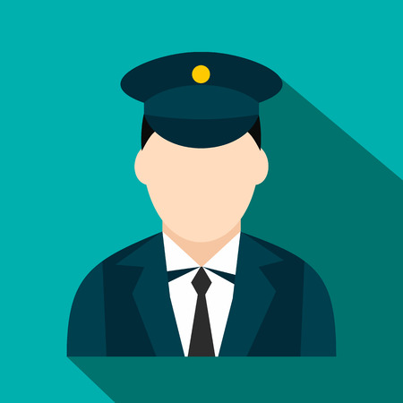 conductor: Train conductor flat icon. Colored symbol with shadow on a blue background