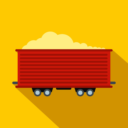 waggon: Open rail car flat icon. Single symbol on a yellow background with shadow Illustration