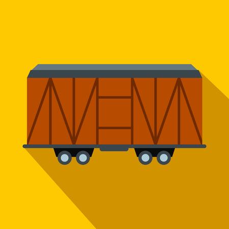 carreta madera: vag�n de tren de carga icono plana. Carro de madera sobre un fondo amarillo