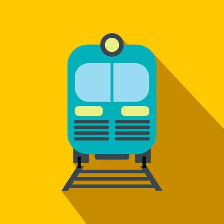 Blauwe trein flat pictogram op een gele achtergrond met schaduw