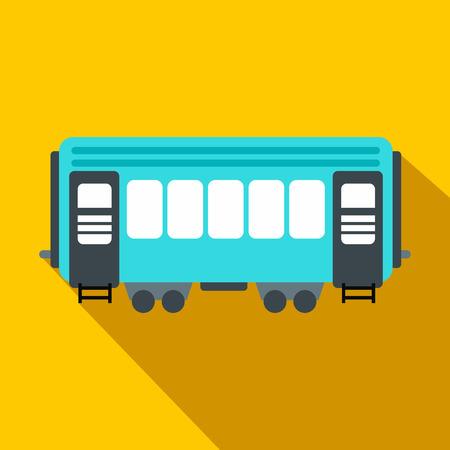 waggon: Passenger railway waggon flat icon. Modern railroad car on an yellow background