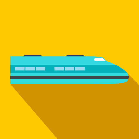 high speed: High speed train flat icon. Single symbol on a yellow background with shadow Illustration