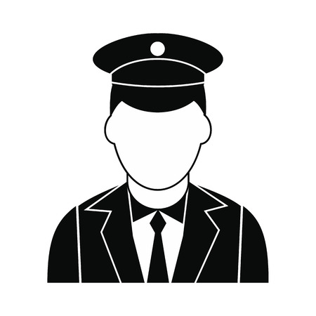 Train conductor black simple icon isolated on white background