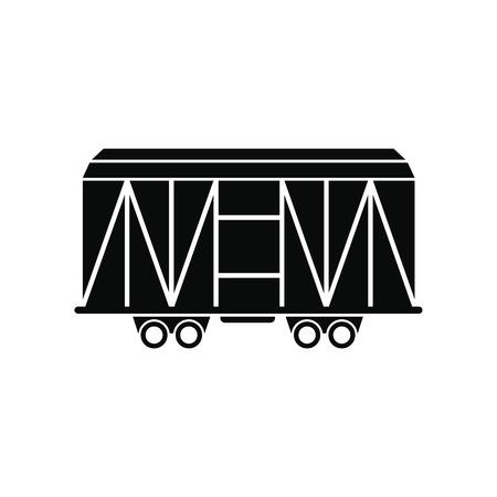 flatcar: Train cargo wagon black simple icon isolated on white background Illustration