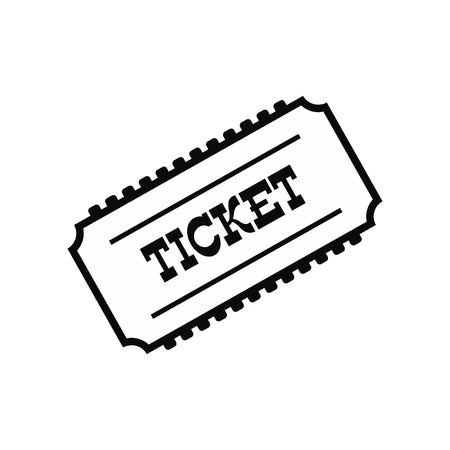 train ticket: Train ticket black simple icon isolated on white background Illustration