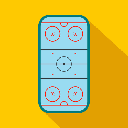 hockey rink: Ice hockey rink flat icon. Game symbol with shadow. Top view