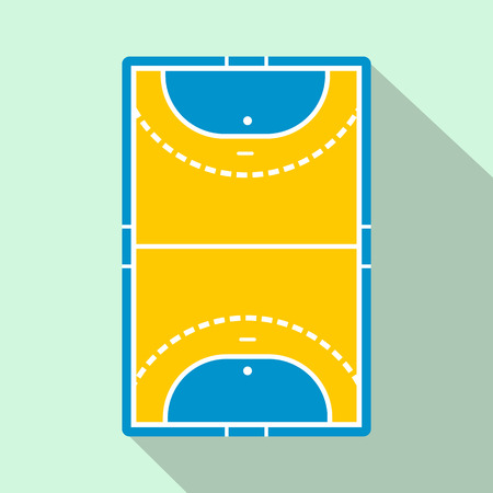 infield: Handball field flat icon. Game symbol with shadow on a blue background. Top view