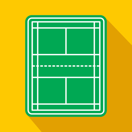 concrete court: Tennis court flat icon. Game symbol with shadow on a yellow background. Top view