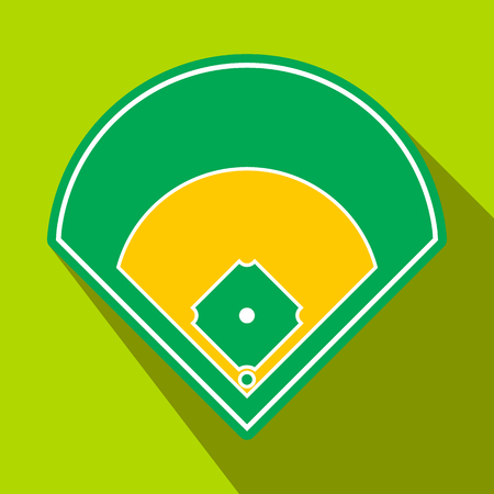 a field: Baseball field flat icon. Single symbol on a green background with shadow Illustration