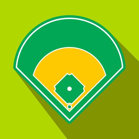 beisbol: campo de béisbol icono plana. solo símbolo en un fondo verde con la sombra