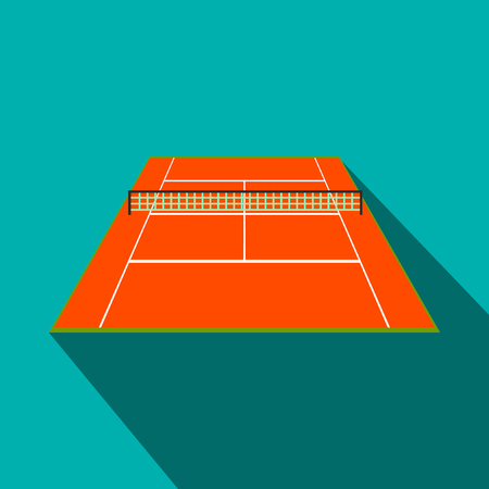 synthetic court: Tennis court flat icon. Game symbol with shadow on a blue background Illustration