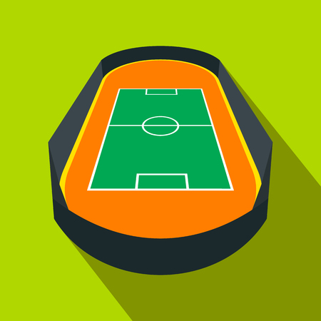 symbol fence: Open soccer field with a fence flat icon. Single symbol on a green background Illustration