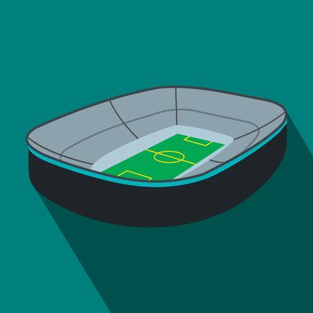 footbal: Oval footbal stadium flat icon. Oval stadium with fan stand