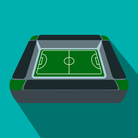 tribune: Square soccer field with fan stand, tribune flat icon on a blue background Illustration