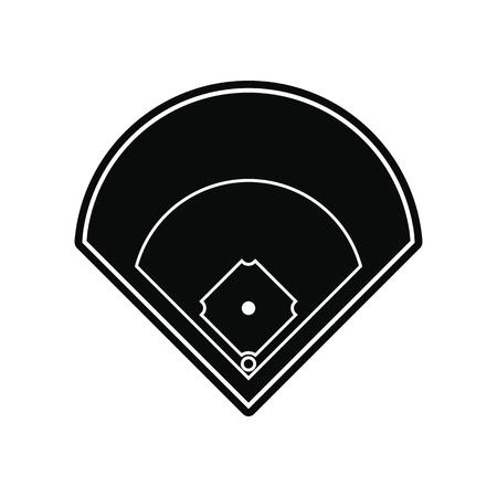 棒球场黑色简单的图标孤立在白色的背景