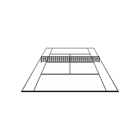 synthetic court: Tennis court black simple icon isolated on white background Illustration