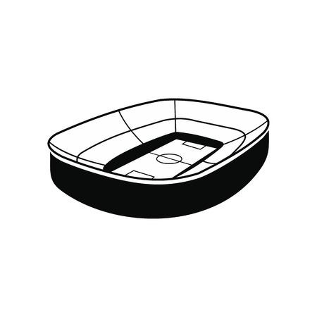 Oval footbal stadium black simple icon isolated on white background