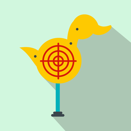 duckie: Yellow duck target flat icon on a light blue background