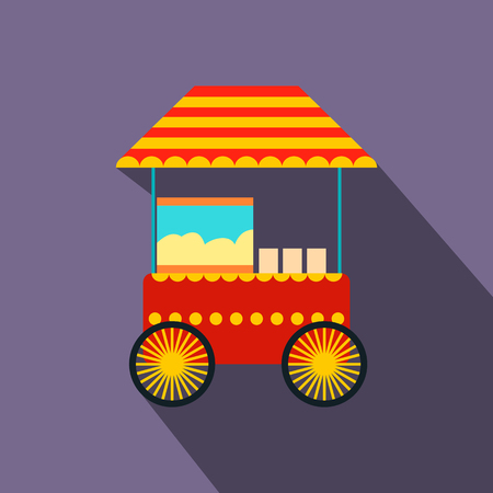 Popcorn cart flat icon on a violet background Illustration