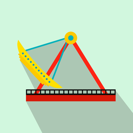 chain swing ride: Boat carousel flat icon on a light blue background Illustration