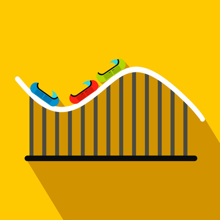 thrilling: Roller coaster flat icon on a yellow background