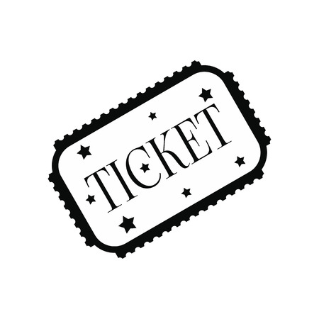 amusement park black and white: Amusement park ticket black simple icon isolated on white background